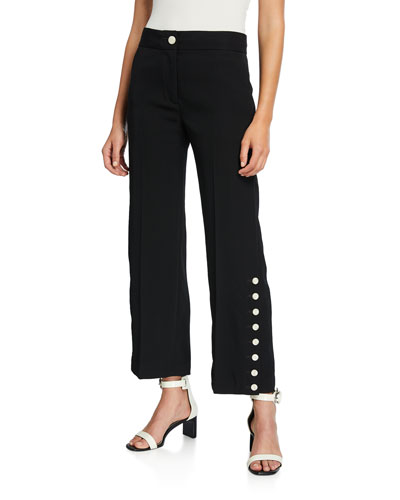 Tia High-Rise Button Pants