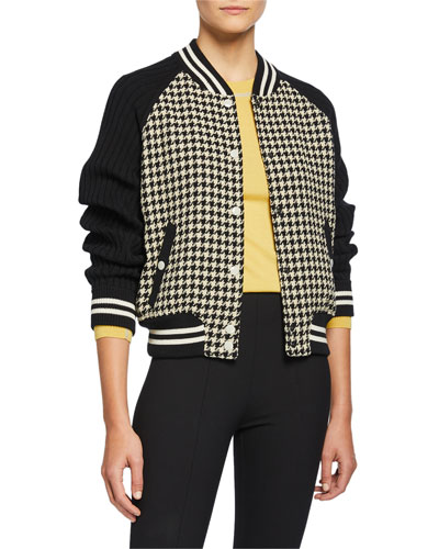 Courtney Knit Houndstooth Bomber Jacket