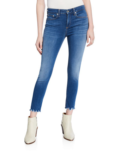 Cate Cropped Skinny Jeans with Shredded Hem