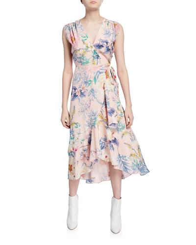 Santorini Floral High-Low Sleeveless Silk Wrap Dress