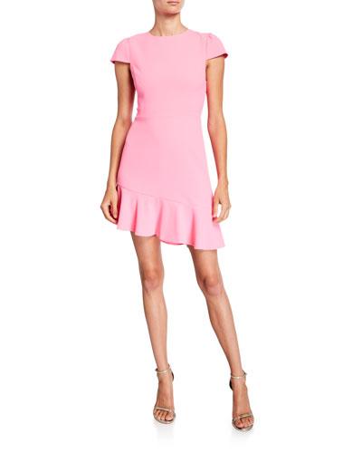 Fable Asymmetrical Ruffle Short-Sleeve Dress