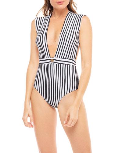 77c5ad0d88 Open Back One Piece Swimsuit | Neiman Marcus