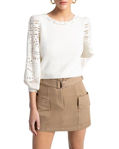 Sandra Crochet Cotton Knit Top
