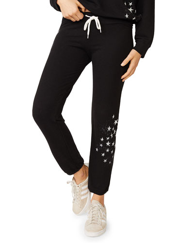 Vintage Drawstring Sweatpants with Faded Stars