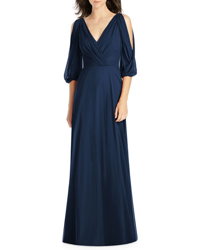 Draped V-Neck Cold-Shoulder Blouson-Sleeve Lux Chiffon Bridesmaid Dress