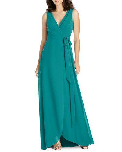 V-Neck Sleeveless Matte Chiffon Wrap Bridesmaid Gown