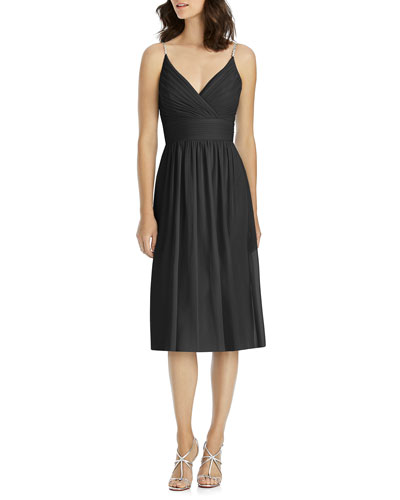 Draped V-Neck Spaghetti-Strap Lux Chiffon Cocktail Bridesmaid Dress