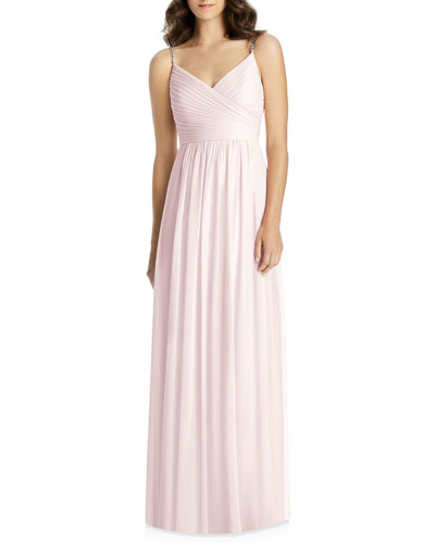 V-Neck Beaded-Strap Lux Chiffon Ruched Bodice Bridesmaid Gown