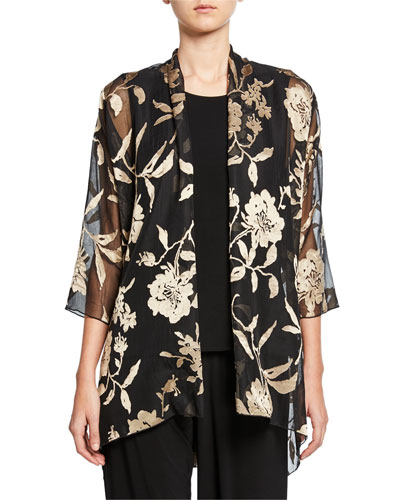 Plus Size Sheer Floral Swing Jacket