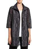 Caroline Rose Equinox Geometric Jacquard 3/4-Sleeve Topper Jacket