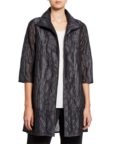 Plus Size Equinox Geometric Jacquard 3/4-Sleeve Topper Jacket