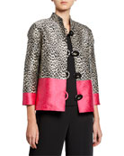 Caroline Rose Pink Panther Button-Front Jacquard Boxy Jacket