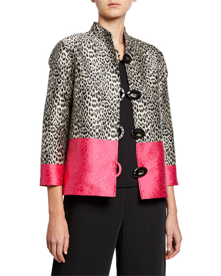 Caroline Rose Petite Pink Panther Button-Front Jacquard Boxy Jacket