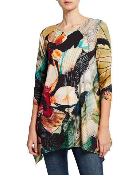 Caroline Rose Autumn Hues Abstract 3/4-Sleeve Stretch Knit Swing Tunic