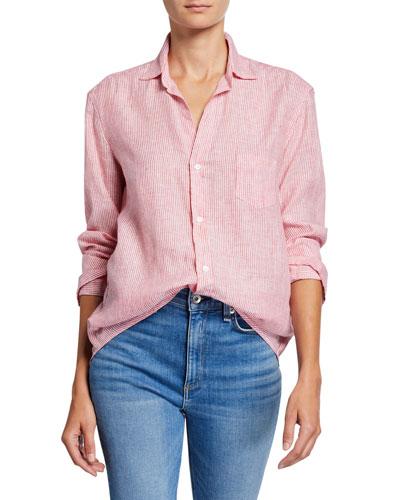 Eileen Striped Button-Down Long-Sleeve Shirt