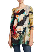 Caroline Rose Autumn Hues Abstract Georgette Scarf and