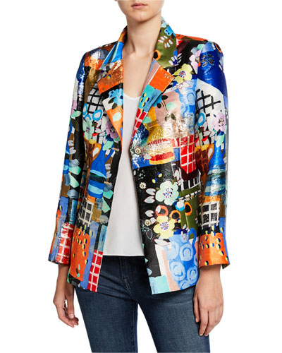 Petite Colorful Three-Button Mixed Media Blazer