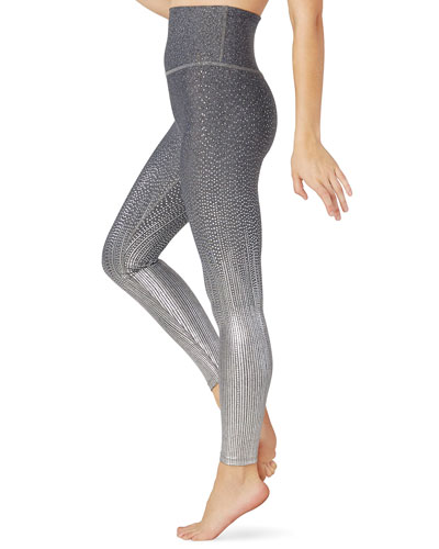 Drip Dot Metallic High-Waist Midi Leggings