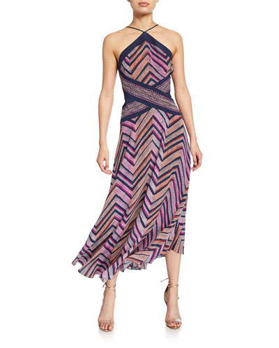 Percy Chevron-Printed Strappy Halter Dress