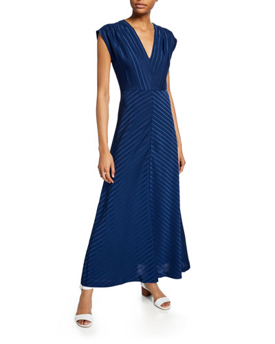 Ravonah Striped V-Neck Cap-Sleeve Long Dress