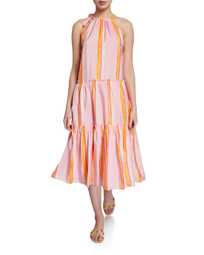 Amirra Tiered High-Neck Striped Dress