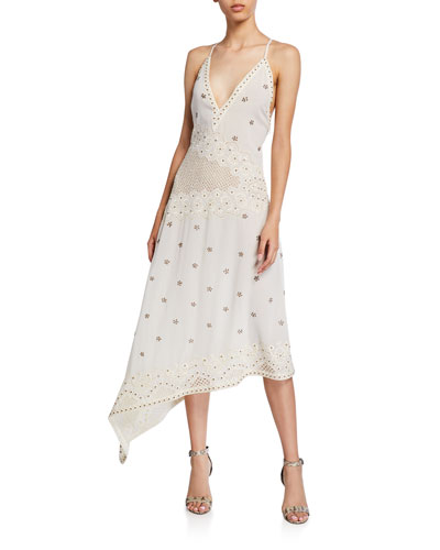 Layna Sleeveless Asymmetric Eyelet Dress