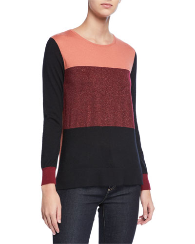 Metallic Colorblock Crewneck Cashmere Sweater