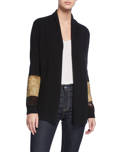 Two-Way Sequin-Sleeve Cashmere Cardigan