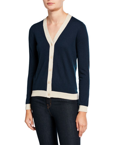 Button-Front Cashmere Cardigan with Metallic Trim