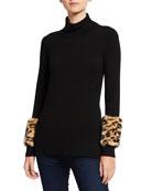 Neiman Marcus Cashmere Collection Leopard Fur Cuff Cashmere
