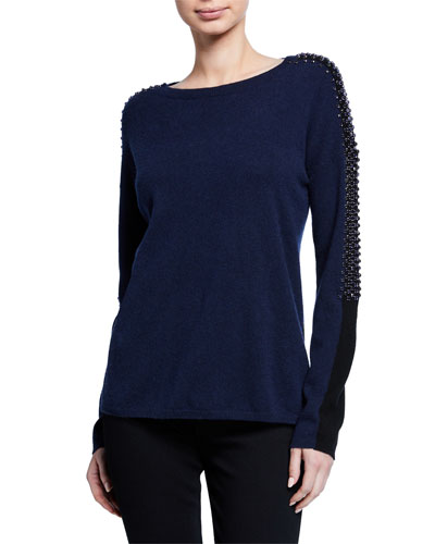 Embellished Colorblock Cashmere Sweater