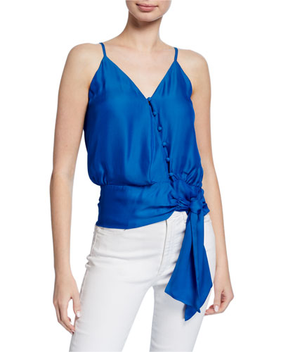 Teresa V-Neck Sleeveless Tie-Hem Top