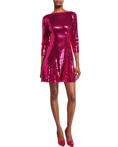 Sequin 3/4-Sleeve Open-Back Cocktail Dress