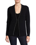 Neiman Marcus Cashmere Collection Chain-Trim Long-Sleeve Cashmere