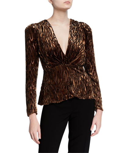 Amit V-Neck Long-Sleeve Burnout Blouse
