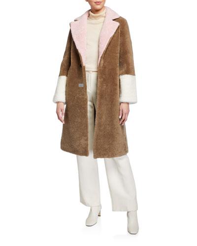 Febbe Long Shearling Skin Coat
