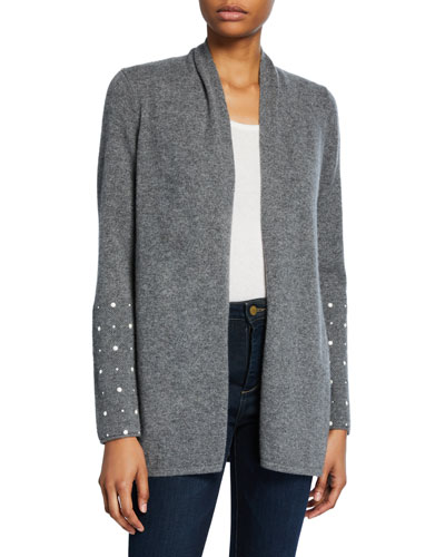 Open-Front Cashmere Cardigan with Pearly Cuff Detail
