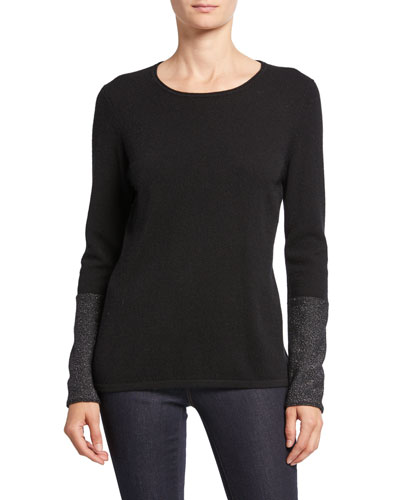 Cashmere Long-Sleeve Crewneck Sweater with Metallic Cuffs