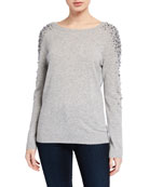 Neiman Marcus Cashmere Collection Cashmere Pearl Embellished