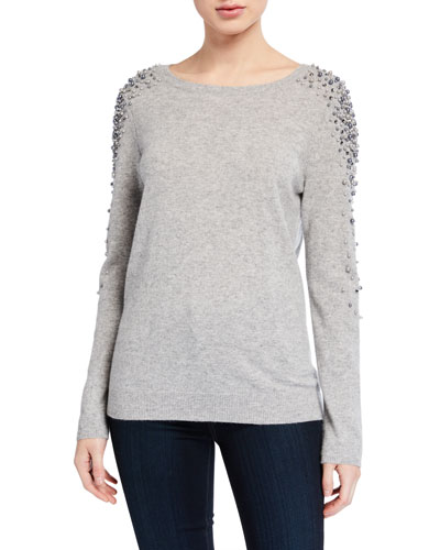 Cashmere Pearl Embellished Boat-Neck Sweater
