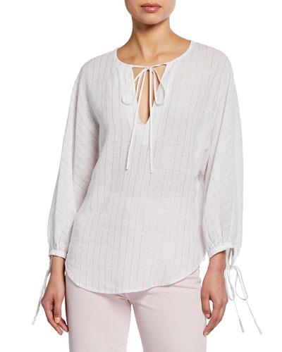 Finn Striped Linen Long-Sleeve Top
