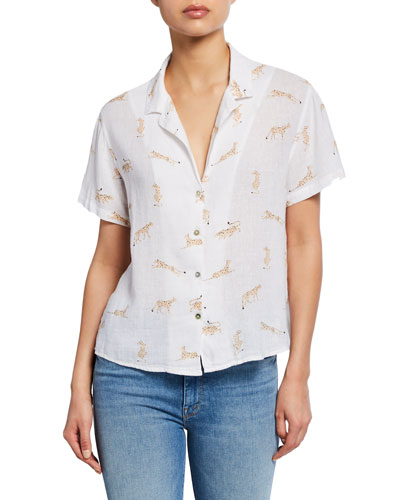 Zuma Printed Linen Button-Down Top