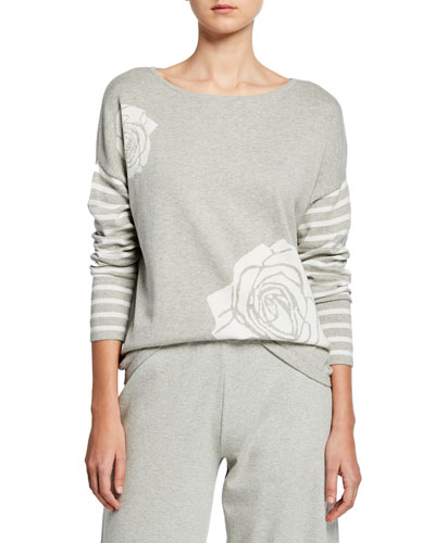 Petite Boat-Neck Floral Intarsia Sweater with Striped Sleeve Detail