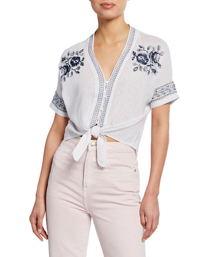 Thea Floral Embroidered Tie-Front Top