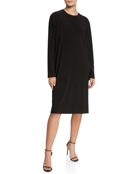 Norma Kamali Boyfriend Crewneck Long-Sleeve Knee-Length Dress