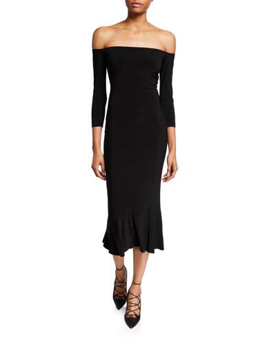 Off-the-Shoulder Midi Fishtail Dress