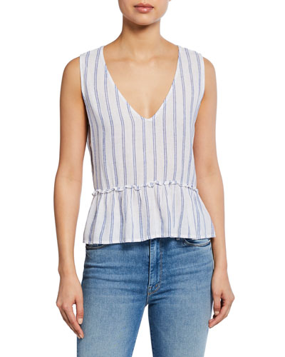 Mira Striped V-Neck Sleeveless Peplum Top