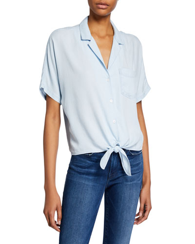 Holly Short-Sleeve Tie-Front Top