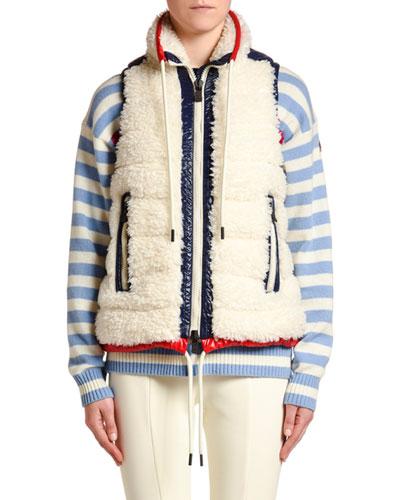 Faux-Fur Puffer Vest w/ Contrast Trim