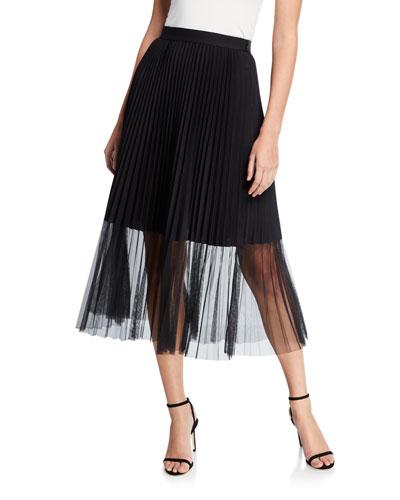 Yanet Pleated Midi Skirt with Sheer Overlay
